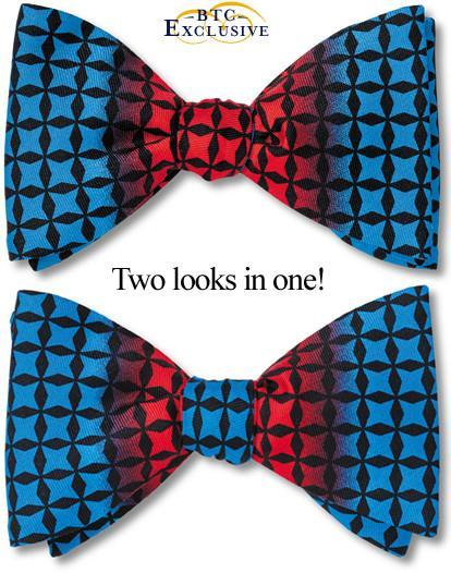 bow ties designer color block red blue silk american made