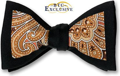 bow ties paisley black brown silk american made