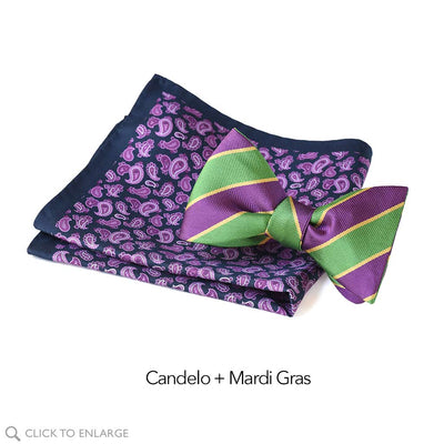 Purple Paisley Pocket Square and Mardi Gras bow tie set