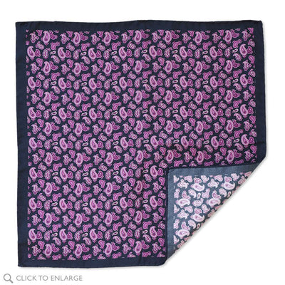 Made in Italy Purple Paisley pocket square on navy background