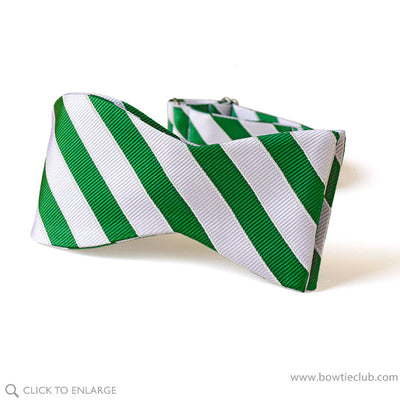 self tie green and white christmas bow tie