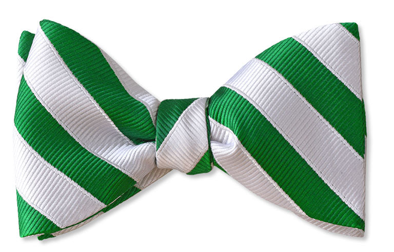 green and white candy stripe festive bow tie