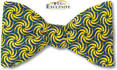 bow ties designer american made yellow blue silk