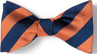 bow ties american made orange navy stripes