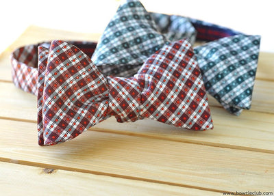 christmas red plaid bow tie