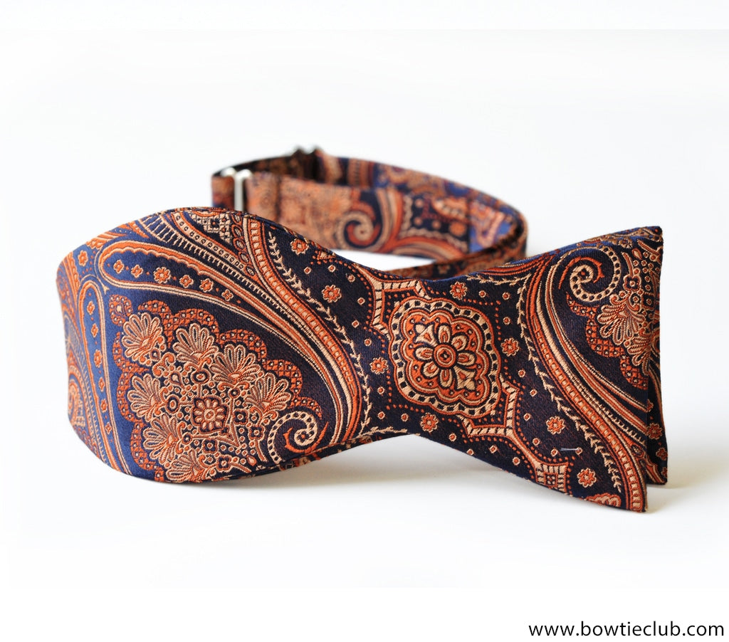 Self tie tie your own orange blue paisley bow tie