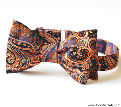 pre-tied orange blue beautiful paisley bow tie