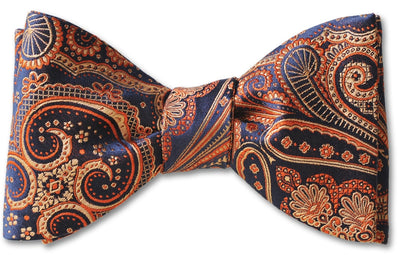 Orange blue sophisticated paisley bow tie