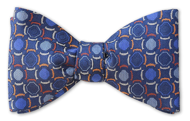 pre-tied blue circles woven bow tie