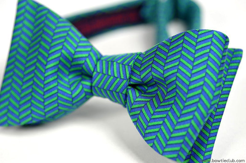 Chelsea Bow Tie Herringbone Blue Green American Made