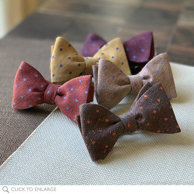 various polka dot woven bow ties in linen silk and wool