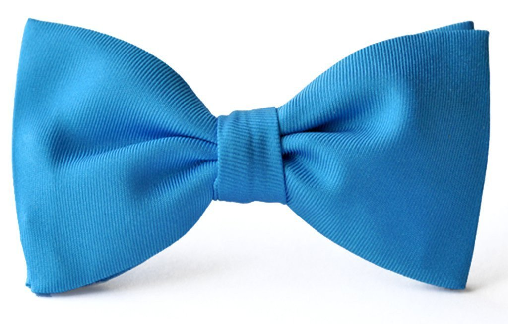 Adult premium silk clip-on bow ties sky blue.