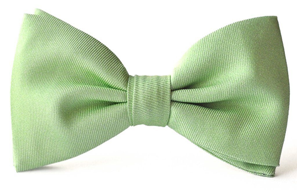 Adult premium silk clip-on bow ties soft green.