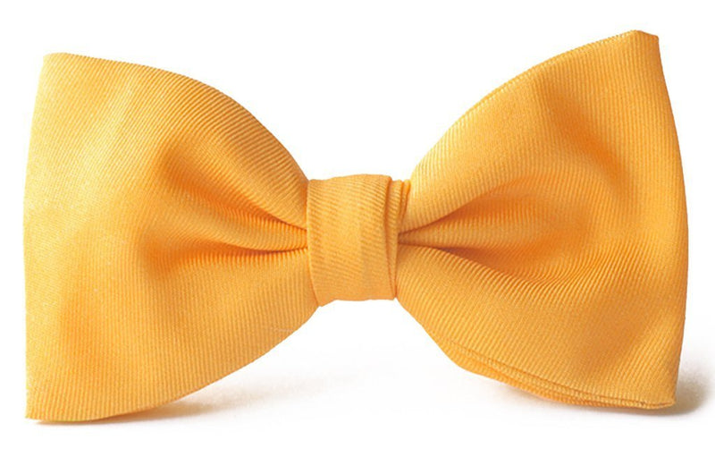 Adult premium silk clip-on bow ties yellow.