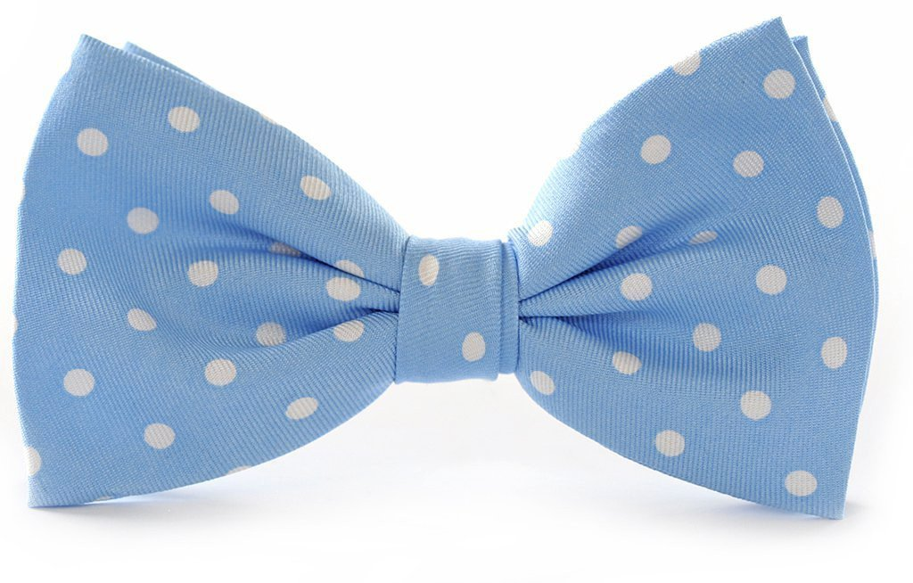 Light Blue Polka Dots Clip-on Bow Ties