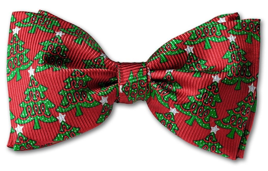 Christmas Tree Clip-on Bow Tie