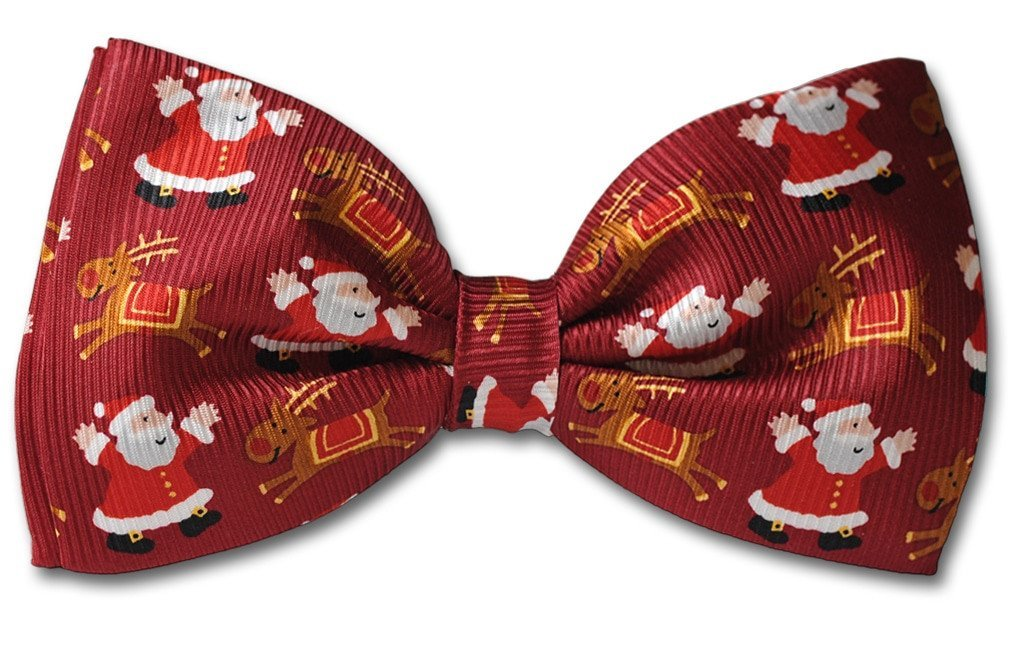 Red Christmas Santa Reindeer Clip-on Bow Tie