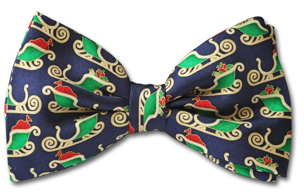 Blue Christmas Santa Sleigh Clip-on Bow Tie