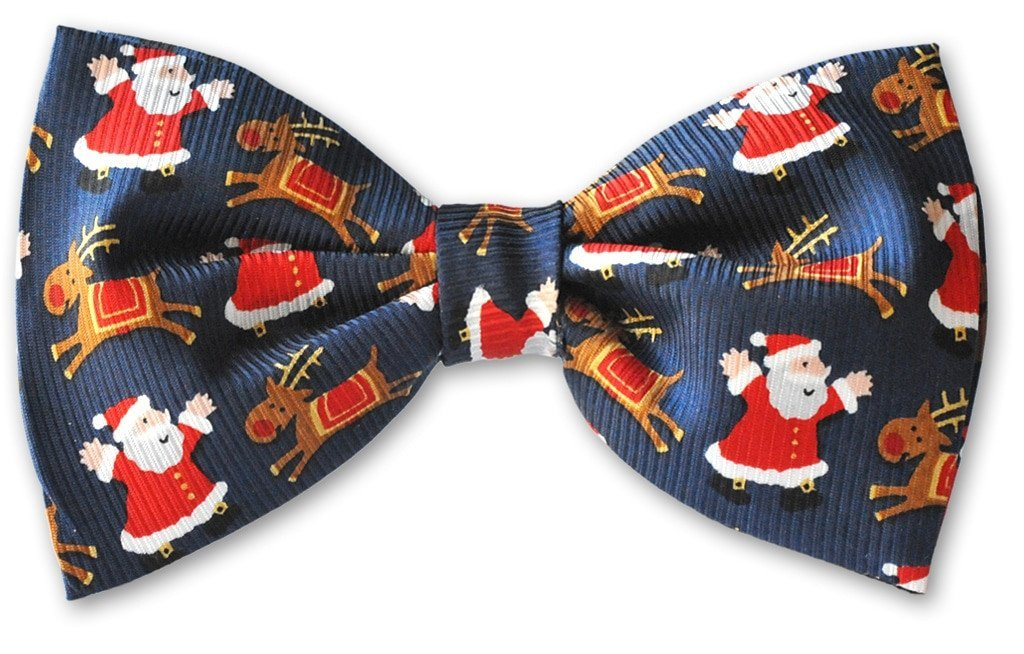 Blue Christmas Santa Reindeer Clip-on Bow Tie