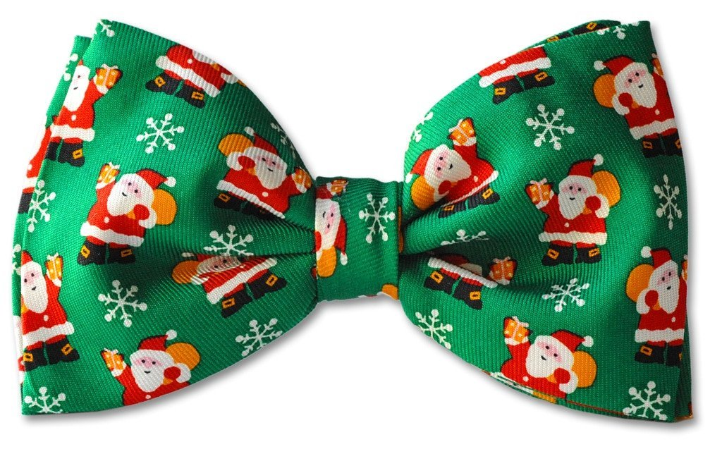 Green Christmas Santa Presents Clip-on Bow Tie