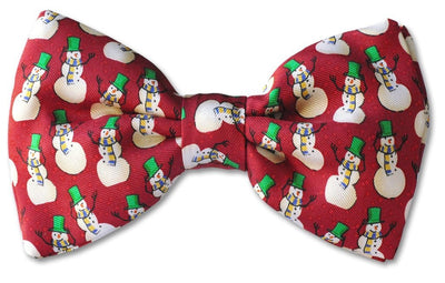 Red Christmas Snow Man Clip-on Bow Tie