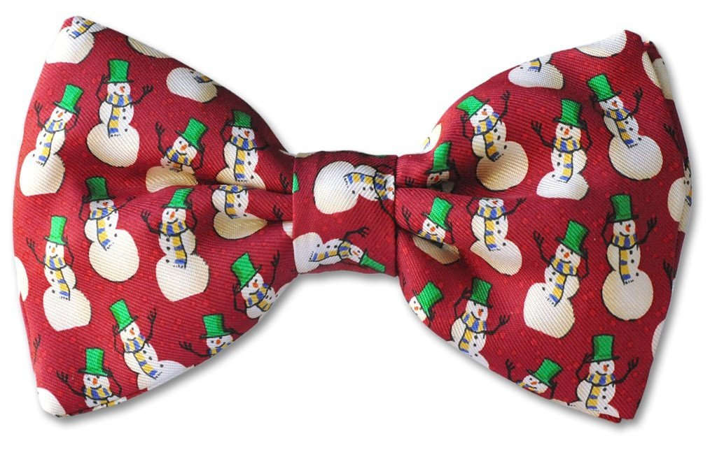Snow Man Clip-on Bow Tie