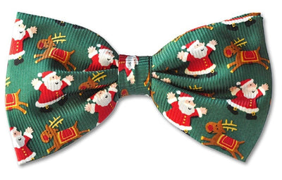 Christmas Green Santa Reindeer Clip-on Bow Tie