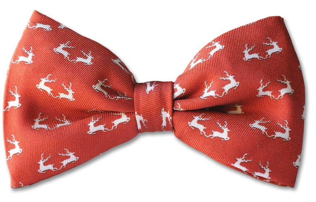 Red Christmas Reindeer Clip-on Bow Tie