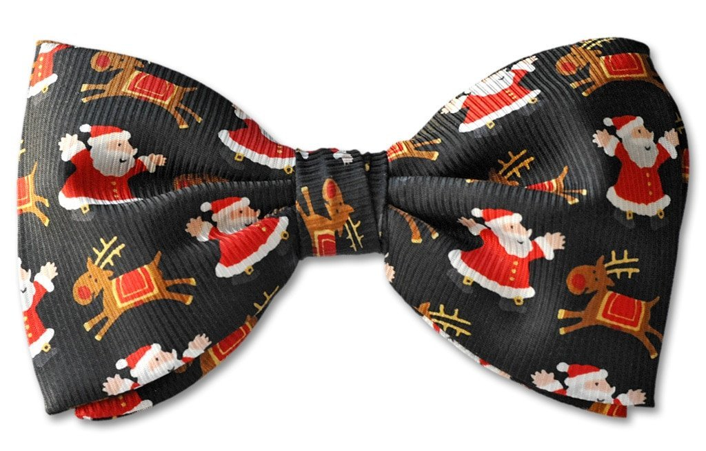 Christmas Santa Reindeer Clip-on Bow Tie