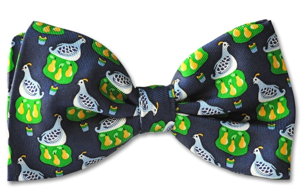 Christmas Partridge Pear Tree Clip-on Bow Tie