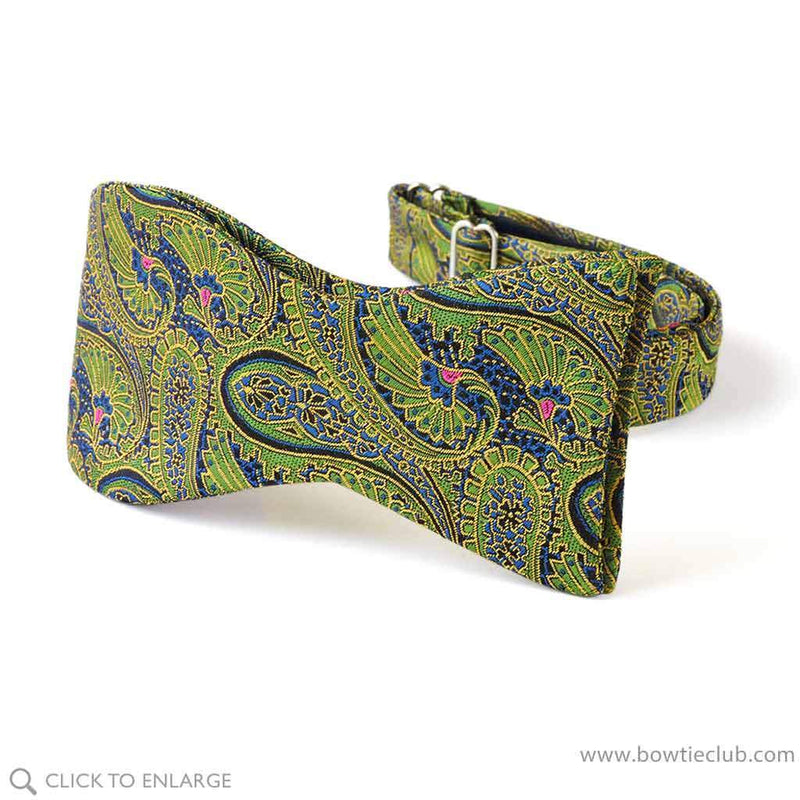 Green Paisley Holiday bow tie