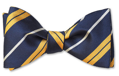 Pre-tied Gold, White and Navy stripe silk woven zoom bow tie