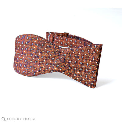 Self tie Copper Tree bow tie with teardrops of brown, white and yellow and blue