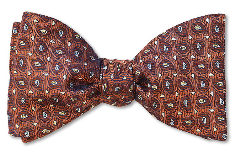 Pre-tied Copper Tree bow tie with teardrops of brown white and yellow