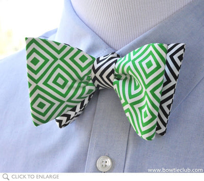 geometric bow tie on shirt