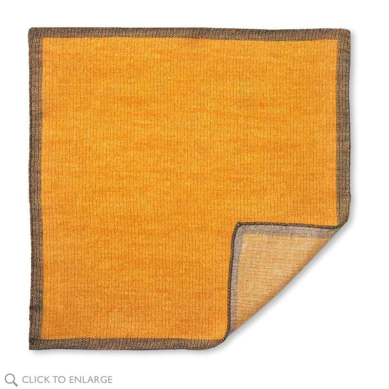 golden yellow and brown wool pocket square