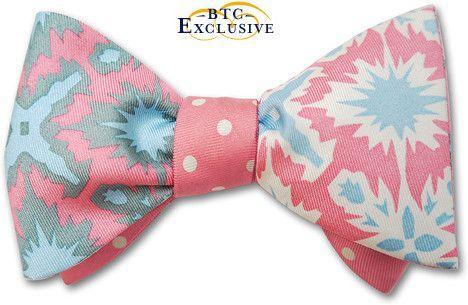 Reversible bow ties pink
