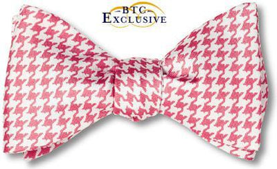 bow ties houndstooth american made designer pink white