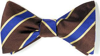 bow ties american made brown blue stripes