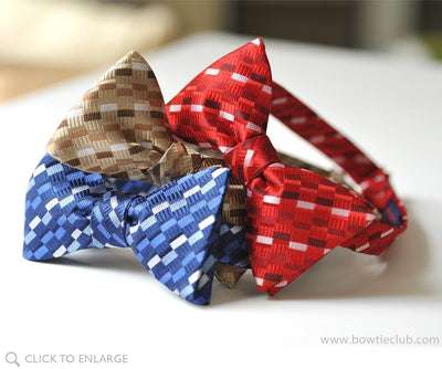 collection of red woven bow ties