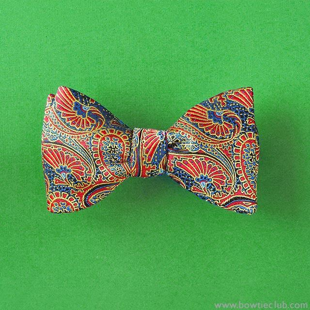 red paisley mens bow tie