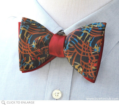 reversible brown and red bow tie