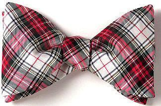 red white tartan plaid bow tie