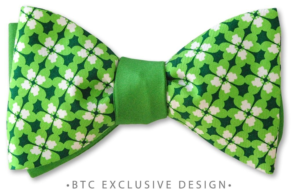 Dublin Reversible St Patrick's Day Clover PRE-TIED BOW TIE