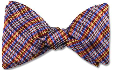 Dundee Silk Plaid Tartan Red Blue Bow Tie
