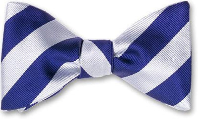 bow ties american made blue white silk stripes