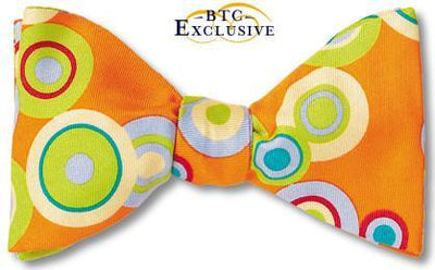 bow ties designer american made orange silk circles