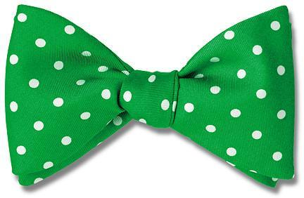 Bow Tie Polka Dots Green Premium Silk