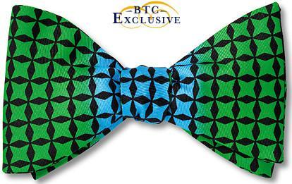 bow ties designer color block american made green blue silk