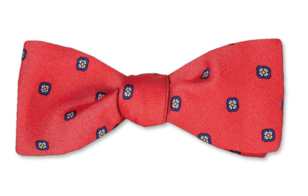Red Straight Edge Batwing Self-tie Silk Bow Tie